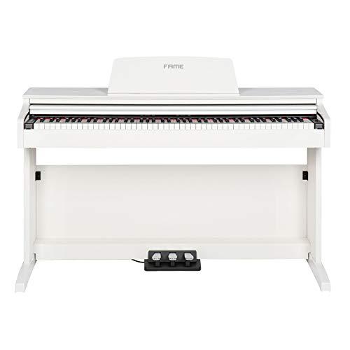 Fame DP-2000 E-Piano mit Hammermechanik, anschlagdynamischen 88 Tasten, voller Klavierklang, 16 Orchesterklangfarben, 128-fache Polyphonie, wertiges Gehäuse mit Deckel, Digital Piano in weiß