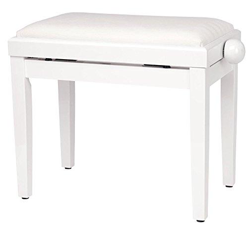 Classic Cantabile Pianobank Weiß-Hochglanz (Höhenverstellbar von 47-56cm, Spindelmechanik, Sitzfläche 55 x 32cm, weißer Velourbezug, stabil)