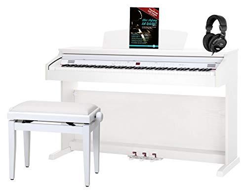 Classic Cantabile DP-50 WM E-Piano SET (Digitalpiano mit Hammermechanik, 88 Tasten, 2 Anschlüsse für Kopfhörer, USB, LED, 3 Pedale, Piano für Anfänger, Pianobank, Kopfhörer, Klavierschule) weiß matt
