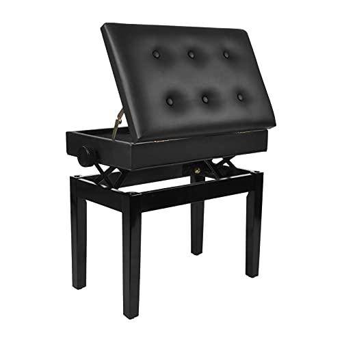 YORKING Klavierhocker Leder Höhenverstellbar Klavier SitzbäNke Piano Sitzbank mit Kissen Stauraum Hocker Schwarz 63 x 34 x 88 cm