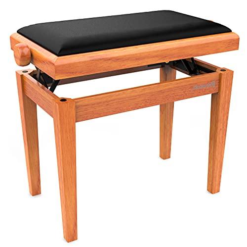 Audibax - KB600 - Klavierhocker - Eiche - 56,5 x 55,5 x 33,5 cm - Verstellbare Bank - Gepolstert und Höhenverstellbar - Matte Ausführung -Klassisches Design - Holz und Schwarzer Samt, 10188169
