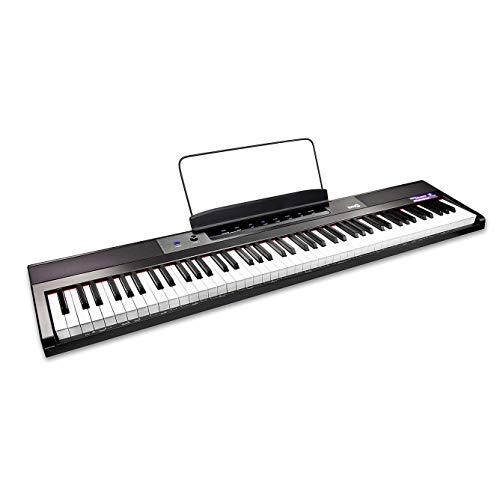 RockJam 88 Tasten Digital Keyboard Klavier mit halbgewichteten Tasten in voller Größe, Netzteil, Notenständer, Klaviernoten-Sticker Simply Piano Übungen.