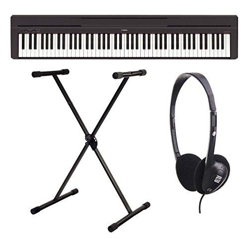 Yamaha P-45B Digitalpiano/Stagepiano SET inkl. Keyboardständer und Kopfhörer (88 Tasten, 64 Stimmen, 10 Voices, 4 Reverb Effekte, 2 x 6 W Verstärker, 6 W, Auto Power Off, inkl. X-Ständer) schwarz
