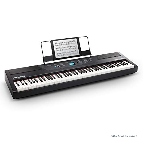 Alesis Recital Pro - 88- Tasten Digital Piano / E Klavier mit Hammermechanik, 12 hochwertigen Stimmen, eingebauten 20 Watt Lautsprechern, Kopfhörerausgang und 3-Monatsabo Skoove