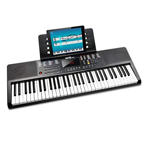 RockJam kompaktes 61 Tasten Keyboard mit Notenständer, Netzteil, Klaviernoten-Sticker & Simply Piano Übungen