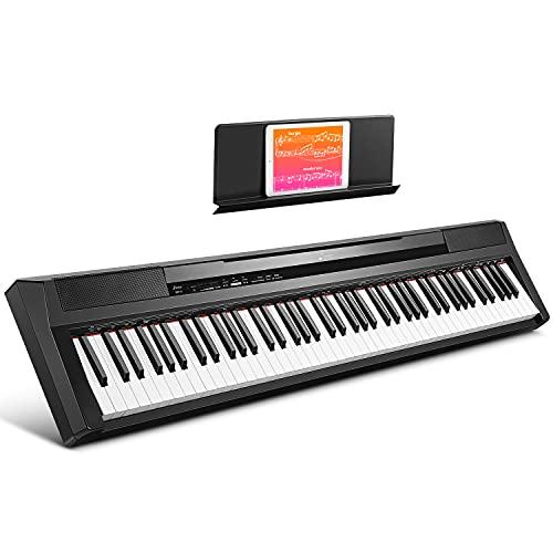 Donner 88 Tasten Klavier Digital Piano Keyboard, Halb Gewichteten Tasten, E Piano für Einsteiger eingebauten 25 Watt Lautsprechern, 2 Kopfhöreranschluss, Sustain-Pedal, DEP-10