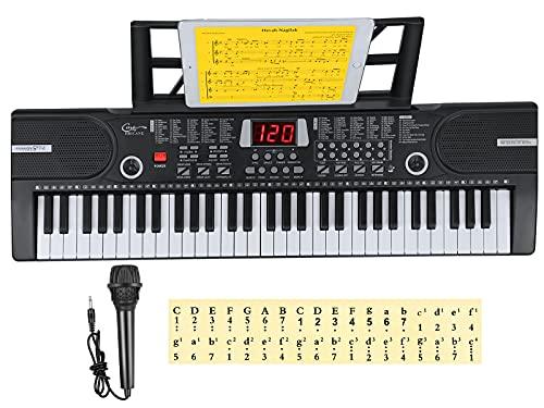 Hricane Kinder home-keyboards mit begleitautomatik, 61 Tasten Keyboard Piano mit Mikrofon für Anfänger Jungen Mädchen, elektrisches klavier e Pianos, Schwarz HEP-612S