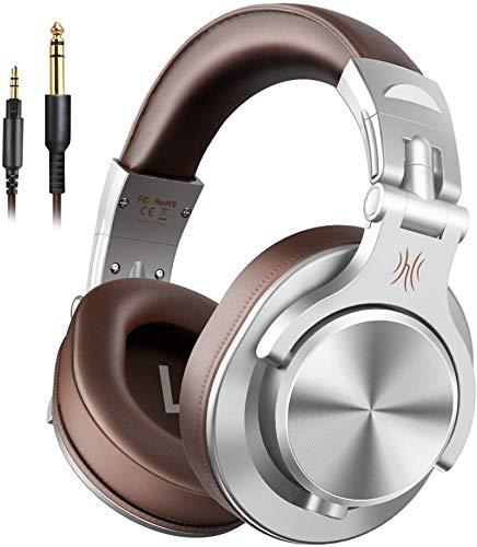 OneOdio Kopfhörer Over Ear, DJ Kopfhörer mit Share Port 6,35mm & 3,5 Klinke Geschlossen HiFi Kopfhörer mit Kabel Adapter-frei, kabelgebunden Headphone Studiokopfhörer für AMP Recording Monitoring