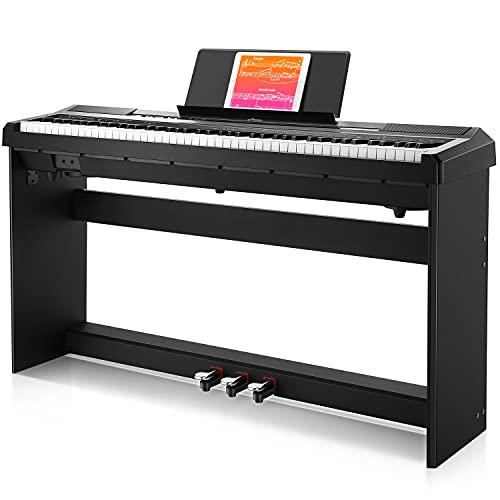 Donner E-Piano 88 Tasten, Halb Gewichteten Anfänger Klavier, Digital Piano mit Abnehmbarer Klavierständer und Pedal, DEP-10S