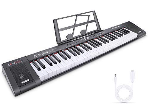 RenFox Tastatur Klavier 61 Tasten Digital Piano Elektronisches Klavier Professionelle -Tragbare Keyboard mit Notenständer, 200 Töne, 200 Rhythmen, 60 Demos, Jungen und Mädchen Geschenk(Schwarz)