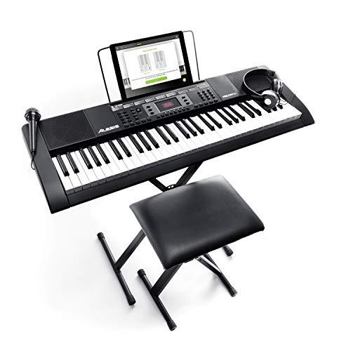 Alesis Melody 61-Tasten E Piano / Keyboard mit Ständer, eingebauten Lautsprechern, Kopfhörer, Mikrofon, Notenständer und Hocker