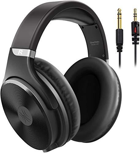 Kopfhörer mit Kabel Over Ear OneOdio Geschlossener Studio HiFi Kopfhörer mit Share Port für E-Drum Piano Gitarre Smartphones iPad Laptop Adapter-frei 3.5-6.35mm Buchse (Schwarz)