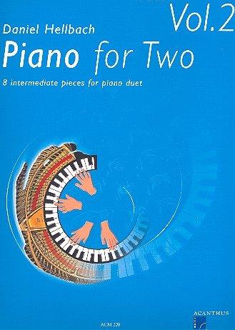Piano for Two vol. 2-8 mittelschwere Klavierstücke zu 4 Händen von Daniel Hellbach - Notenbuch mit bunter herzförmiger Notenklammer