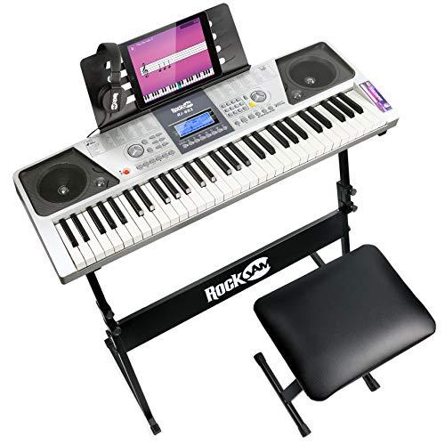 RockJam 61 Tasten Keyboard Klavierset mit Digitalklavierbank, Elektro-Klavierständer, Kopfhörern Klaviernoten-Sticker & Simply Piano Übungen