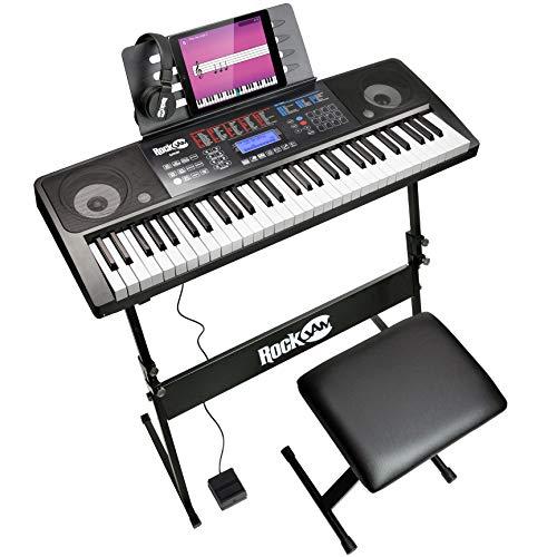 RockJam 61 Tasten Touch Display Keyboard Klavierset mit Digitalklavierbank, Elektro-Klavierständer, Kopfhörern Klaviernoten-Stickern, Sustain-Pedal & Simply Piano Übungen